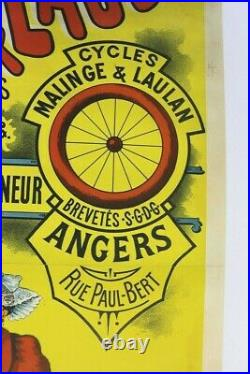 AFFICHE vélo 1896 CYCLES MALINGE & LAULAN ANGERS 49 POSTE chaine à dents sautées