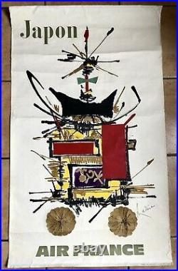 AIR FRANCE JAPON MATHIEU Affiche Originale 1967! NO REPRO