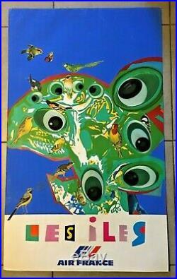 AIR FRANCE Roger BEZOMBES- Vie du Monde, 1981 Portfolio de 8 affiches