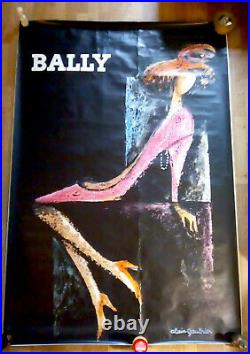 ALAIN GAUTHIER BALLY AFFICHE ORIGINALE 118 x 170 cm RARE 1970
