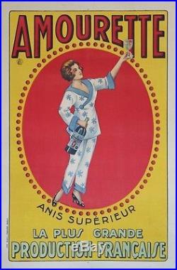 AMOURETTE ANIS SUPERIEUR Affiche originale entoilée Litho d'après RAHUËL 1922