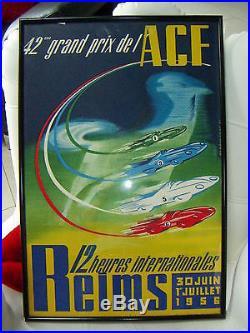 ANCIENNE AFFICHE AUTOMOBILE CIRCUIT DE GUEUX REIMS ORIGINALE 1956