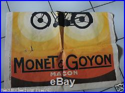 ANCIENNE AFFICHE MONET GOYON format 116 x 80 cm grande marque de moto