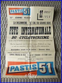 ANCIENNE AFFICHE PASTIS 51 CYCLOTOURISME ST ETIENNE 1958