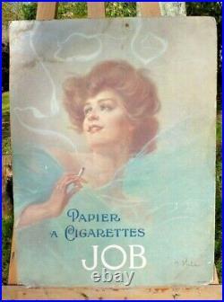 ANCIENNE AFFICHE PUBLICITAIRE CARTONNÉE Papier cigarettes JOB vers 1903