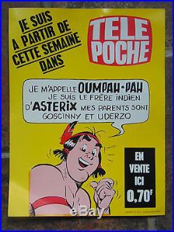 ANCIENNE AFFICHE PUBLICITAIRE OUMPAH-PAH (ASTERIX)/TELE POCHE (28,5 X 38,5)