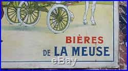 ANCIENNE AFFICHE SUR CARTON PUBLICITAIRE BIÈRES DE LA MEUSE