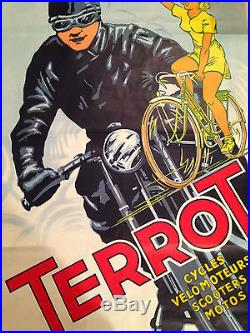 ANCIENNE AFFICHE TERROT CYCLES VELOMOTEUR SCOOTERS MOTOS VICTOR DUMAY NO COPY