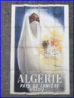 ANCIENNE AFFICHE TOURISTIQUE PUBLICITAIRE ALGERIE 1947 GUY NOUEN Alger design