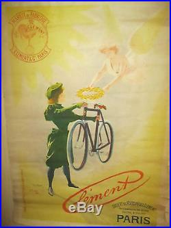 ANCIENNE AFFICHE VELO ANCIEN CLEMENT OLD BIKE FRENCH ANTIC