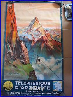ANCIENNE AFFICHE telepherique d Artouste SNCF par Champseix 1937