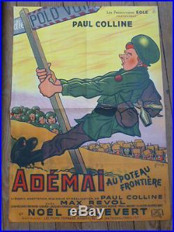 ANCIENNE RARE AFFICHE CINEMA 1949 ADEMAI LOUIS DE FUNES FILM CINE