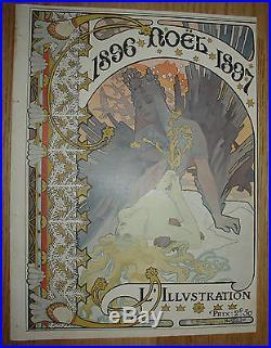 ANCIENNE couverture ALPHONS MUCHA ART NOUVEAU L'ILLUSTRATION 1896