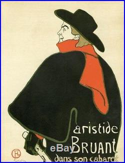 ARISTIDE BRUANT Planche originale entoilée Litho TOULOUSE-LAUTREC 1893 24x30cm