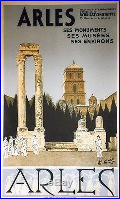 ARLES par Léo LELEE 1936 Affiche originale litho entoilée 66x104cm
