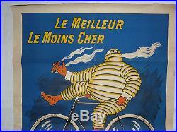 AUTHENTIQUE AFFICHE 1900 LE MEILLEUR, LE MOINS CHER, PNEU VELO MICHELIN