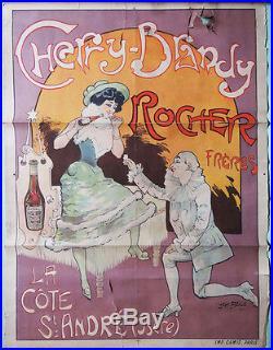 AUTHENTIQUE AFFICHE ANCIENNE Cherry-Brandy ROCHER FRÈRES Par JACK ABEILLÉ 1900