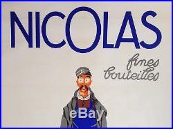 AffIche ancienne NICOLAS Fines bouteilles DRANSY Nectar Livreur Vin Rouge Blanc