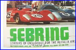 Affiche 12 Heures Sebring 21 Mars 1970 Ferrari 512 S + Steve Mcqueen Porsche 908