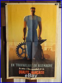 Affiche 2e Guerre Travail En Allemagne
