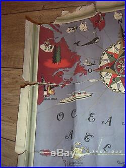 Affiche AIR FRANCE 1935 Planisphére L Boucher