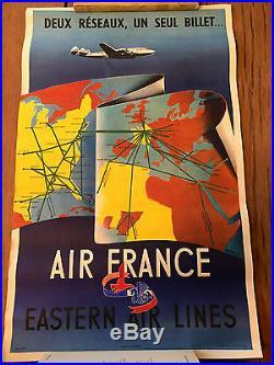 Affiche AIR FRANCE -DEUX RESEAUX UN SEUL BILLET HUBERT BAILLE