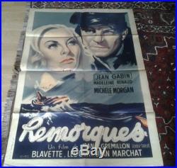 Affiche ANCIENNE de cinéma Remorques Gabin, Morgan. 117cms X 82 cms
