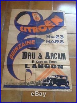 Affiche AUTOMOBILE CITROEN quinzaine du 9 au 23 mars 1930 DRU & ARCAM LANGON