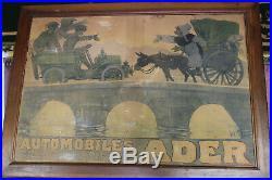 Affiche AUTOMOBILES ADER signé par George Meunier avec cadre bois