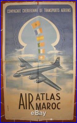Affiche Air Atlas Maroc. SENEGUE B. Compagnie chérifienne de transport. 100 x 60