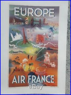 Affiche Air France Europe Scenes Diverses Annees 50