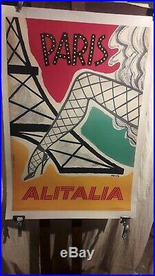 Affiche Alitalia Paris Festive Annees 1960