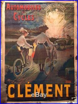 Affiche Ancienne 1903 Cycles Automobiles Clement Antique Poster