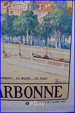 Affiche Ancienne 1926 NARBONNE par L DUVIVIER entoilée T B E