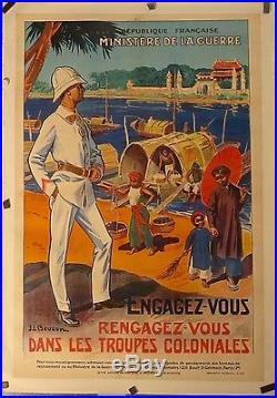 Affiche Ancienne 1931 TROUPES COLONIALES ASIE par J L BEZON entoilée bon état