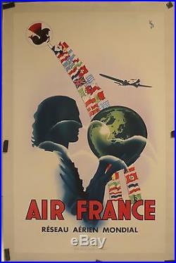 Affiche Ancienne 1937 AIR FRANCE ressua aérien mondial par Vinci entoilée