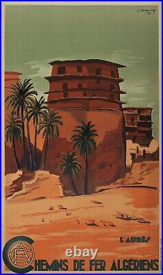 Affiche Ancienne 1948 LES AURES Chemin de Fer ALGERIENS entoilée TBE