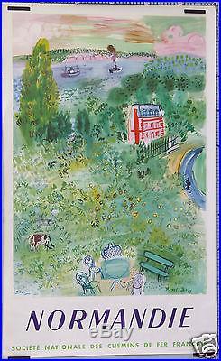 Affiche Ancienne 1954 Raoul Dufy Sncf Normandie