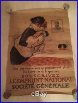 Affiche Ancienne 80 Cm Société Générale 1917 Signée Redon Militaria Guerre 14 18