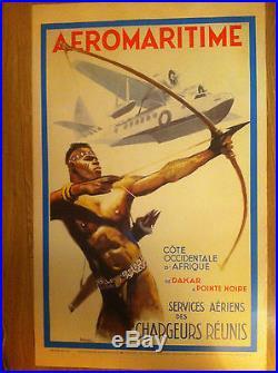 Affiche Ancienne AIR FRANCE AERO MARITIME réedition de1993 D'aprés A. BRENET