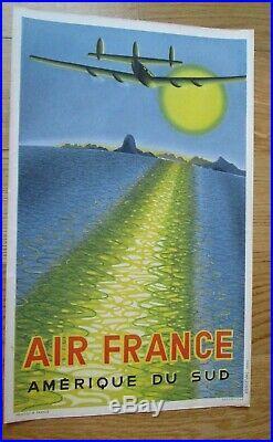 Affiche Ancienne Air France De 1949 Amerique Du Sud Dessinee Par Vasarely