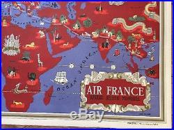 Affiche Ancienne Air France MAPPEMONDE LUCIEN BOUCHET 1935