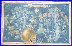 Affiche Ancienne Air France Planisphère Constellation Lucien Boucher 1951
