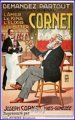 Affiche Ancienne Amer, Kina, Elixir Et Bitter Cornet CI 1900