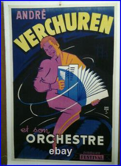 Affiche Ancienne Andre Verchuren Accordeon Harfort Disque Festival