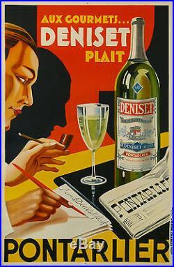 Affiche Ancienne Aperitif Anis Deniset Pontarlier Art Deco CI 1930