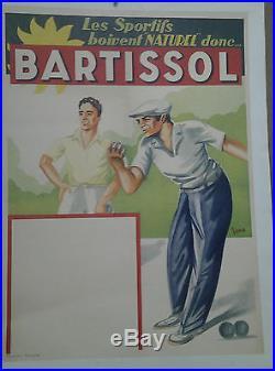 Affiche Ancienne Aperitif Bartissol Jeux De Boule Bouliste Sport Irab