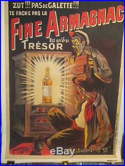 Affiche Ancienne Armagnac Coffre-fort Oge