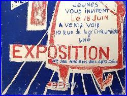 Affiche Ancienne Art Brut 1960 Pochoir Litho Invitation Arts Deco Vintage Poster