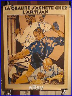 Affiche Ancienne Artisanat Rene Kuder 1939 Deco